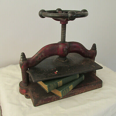 Antique 19th Century Red Polychrome And Stenciled Book Press Marked ''Howe 115''