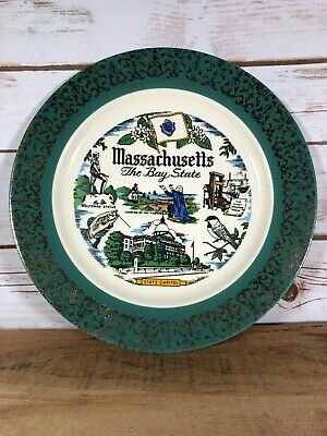"""Vintage State Collector Plate Massachusetts the Bay State Tourist Sites 10"""""""