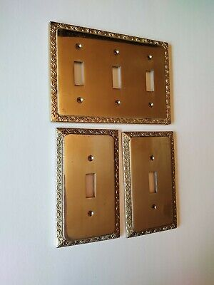 Vtg Gatco solid brass metal switch plate covers toggle 3 piece lot