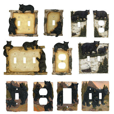 Black Bear Decorative Plates Switch and Outlet Covers - Black Bear Wall Plates