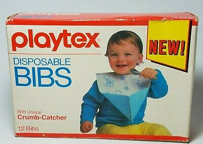 Vintage Playtex NOS Disposable Bibs with Unique Crumb Catcher Qty 12 1987 Prop