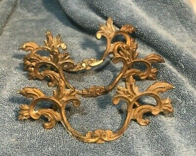 "Three Vintage Brass French Provincial Drawer Pulls 6.5"" wide x 2.5"""