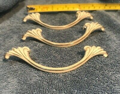"Three Vintage White & Brass French Provincial Drawer Pulls 5"" wide x 1"""