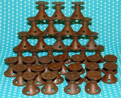 35 Vtg Spoolies Rubber Hair Curlers Rollers Dark Brown Lot Pin Curl