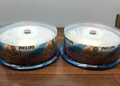 2 !! 25-pk Philips branded 16x DVD+R Dual Layer 4.7GB Blank Recordable Disk NOS
