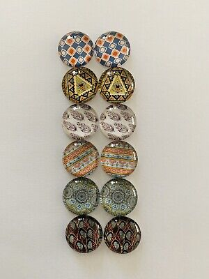 6 Pairs Of 12mm Glass Cabochons #780