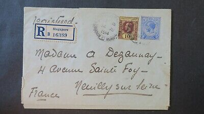 Registered Cover from Singapore 1914 to France, Straits Settlement