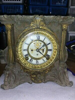ANTIQUE 1881 ANSONIA IRON MANTLE CLOCK-HEAVY, Ornate & Beautiful-No key-(E33)