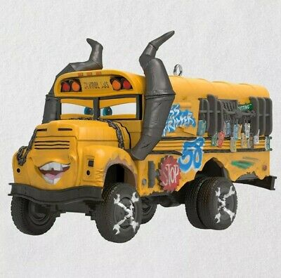 Hallmark 2019 Disney Pixar Cars 3 Miss Fritter Magic Sound School Bus Ornament