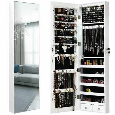 Wall & Door Mounted Mirrored Jewelry Cabinet Storage Organizer With Drawer White