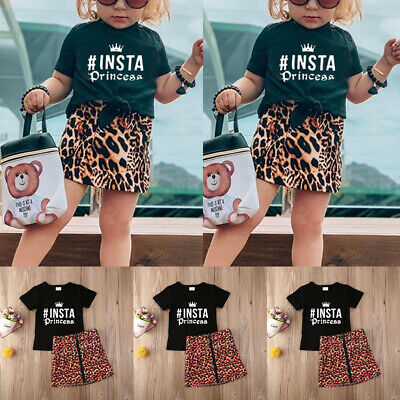 2PCS Toddler Kids Baby Girls T-shirt Tops+Mini Skirt Dress Clothes Outfits Set