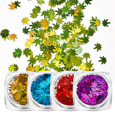 1G Nail Art Maple Leaf Nail Sequins Holographic Laser DIY Nail Art Deocration