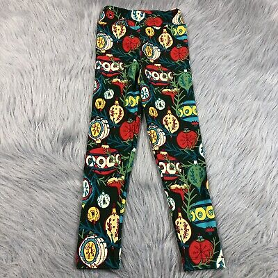Lularoe Girls S/M Multicolored Christmas Tree Ornament Leggings