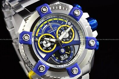 "Invicta 63mm Reserve Grand Octane Arsenal ""PINNACLE"" Swiss Silver Blue SS Watch"