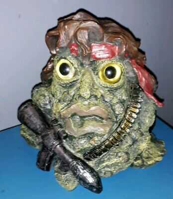 Rare Toad Hollow Rambo Sly Stallone Garden Frog Figurine Statue