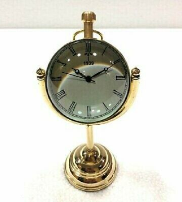 Antique Victorian Old Style Brass Clock Watch Vintage Desk Table/Office Decor
