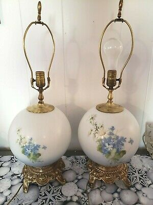 Vintage Hand Painted Artist Signed Table Globe Lamp 3 way Pair brass Chilo Harp