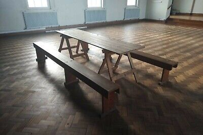 Antique wooden trestle table and 2 benches