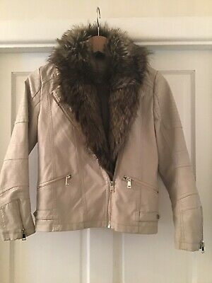 Girls RIVER ISLAND Faux Leather & Faux Fur Large Collar JACKET Age 11 VGC