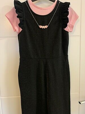Girls George Black & Pink 2 Piece Cropped Jumpsuit Size 9-10 Years ~ Worn Once