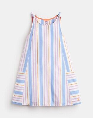 Joules Girls Madeline Dress in White Mauve Stripe - BNWT - Age 6/9-10 - RRP £25