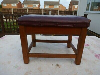 Vintage Antique Retro Foot Stool Brown Leather Effect Seat Solid Wood Legs