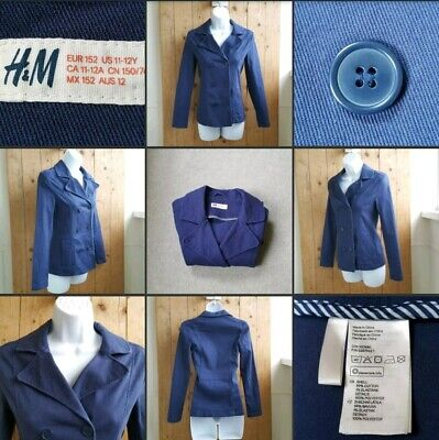 *Used* Lovely Girls Navy Blue Canvas Style Coat Jacket ♡H&M♡ 11-12Yr~Casual~Thin