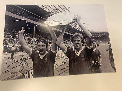 Jimmy Case Phil Neal Hand Signed Photo Liverpool A4