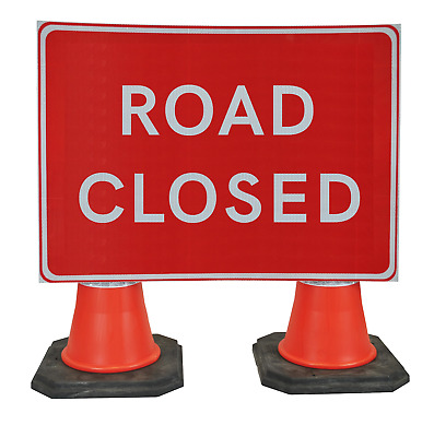 Road Closed 1050 x 750mm Hangman Sign (Double Cone)