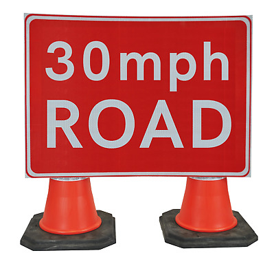 30mph Road 1050 x 750mm Hangman Sign (Double Cone) 670