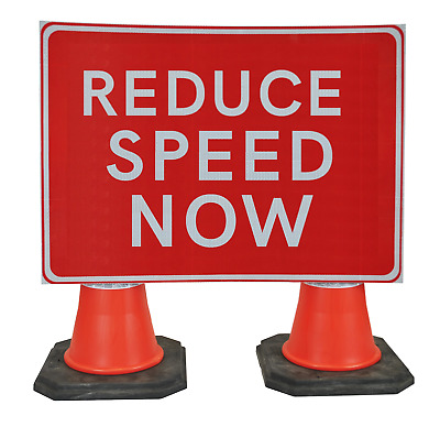 Reduce Speed Now 1050 x 750mm Hangman Sign (Double Cone)