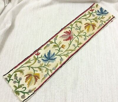 Antique Crewel Work Hand Embroidery Panel Border Arts & Crafts Jacobean Flowers