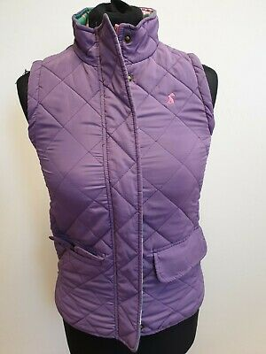 M620 Girls Joules Purple Diamond Check Quilted Bodywarmer Gilet Age 9-10 Years