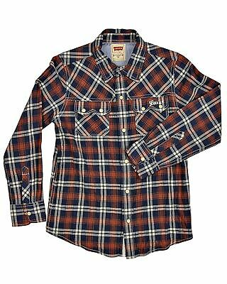 Levi's Levis Junior Boys Muscle Fit Long Sleeve Checked Shirt 2 Pockets Red Blue