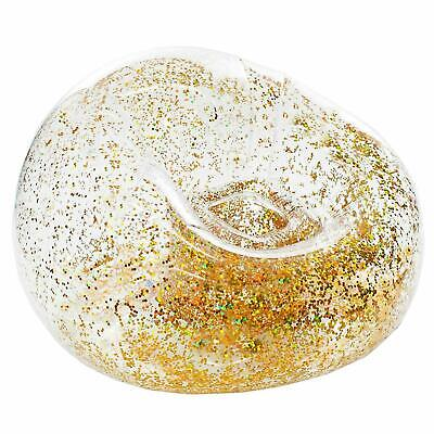 Inflatable Holographic Clear Gold Glitter Chair Indoor & Outdoor Use