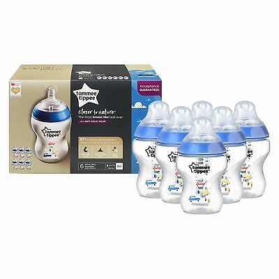 Tommee Tippee Closer to Nature BLUE Decorated Baby Feeding Bottles - 6 PACK
