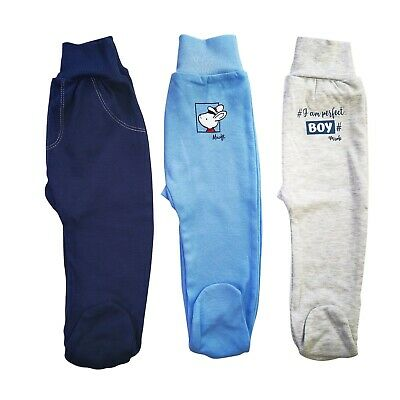 BNWT Baby Infant Boys Pants Trousers with feet 100/% Cotton NB//3-6//18-24 Months