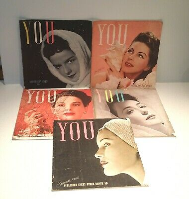 LOT OF 5 VINTAGE 1930-40s YOU WOMENS MAGAZINES Fashion Style VOGUE FEMINA BAZAAR