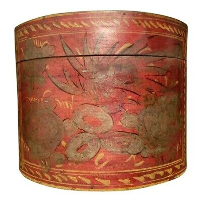 Late 19th Century Antique Shanxi Round Painted Hat Box Flowers Birds Handpainted