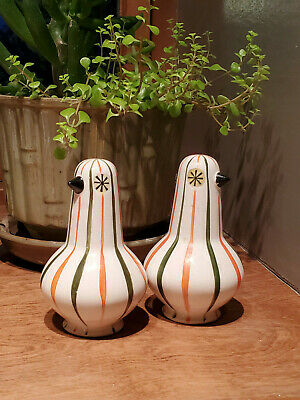 Rare 1960 Holt Howard Starry Eyed Mod Bird S&P Shakers Pixieware Handpainted MCM