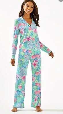 Lilly Pulitzer NWT 2 Piece Set Pajama Pants & Ruffle Top Multi Swizzle In 🏝