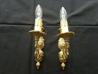 Pair of Antique French brass Bronze rocaille Wall Light Sconce Louis XV style