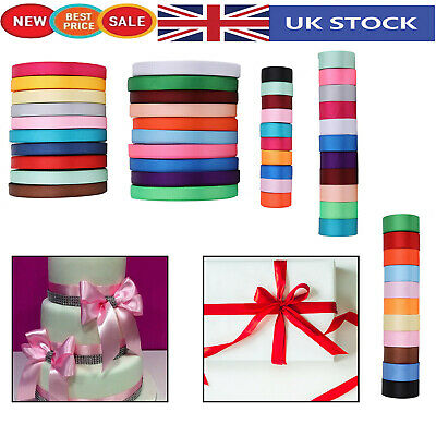 Satin Ribbon Rolls Reels 10mm 25mm 40mm Widths Double Sided 300 Metres for Gifts