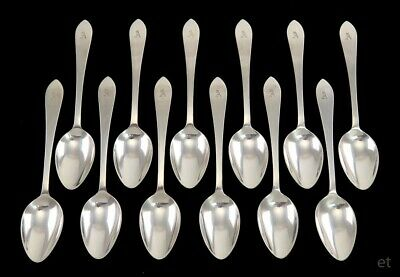 12 Vintage Sterling Silver Tiffany & Co Faneuil Pattern Teaspoons 'A' Monogram