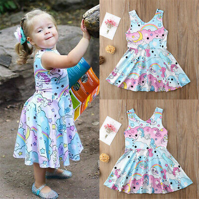 UK Kids Baby Girls Lace Cartoon Unicorn Party Pageant Tutu Dress Sundress