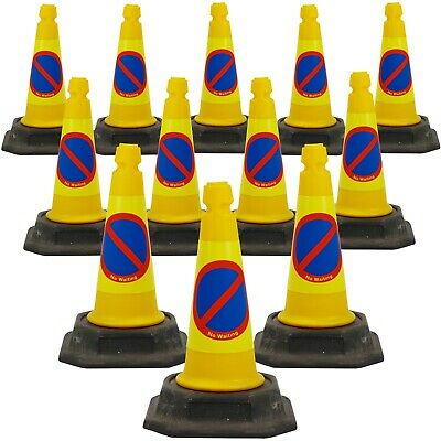 """Pack of 12 - Yellow """"No Waiting/ No Parking"""" Traffic Street Cones (500mm)"""