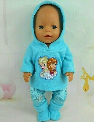 """Dolls clothes for 17"""" Baby Born doll~FROZEN~ELSA & ANNA HOODIE~ LEGGINGS~BOOTS"""