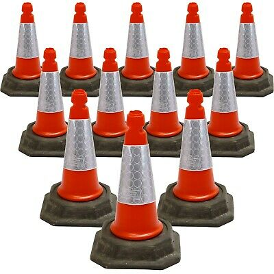 "PACK OF 12 Road Traffic Street Cones 18"" (500mm) Self Weighted Safety HeavyDuty"