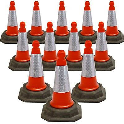 "PACK OF 12 Traffic Road Cones 18"" (500mm) Self Weighted Heavy Duty Design"