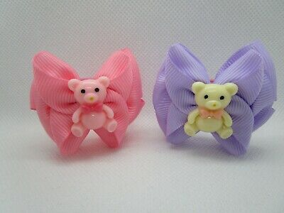 Girls Hair Bows Bobbles Baby Little Girls Hair Bows Ponios Hair Bands Pair UK